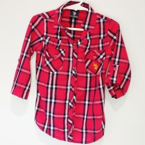 Other - Plaid Button Up Shirt Roll Up Tab Sleeves Girls 4T